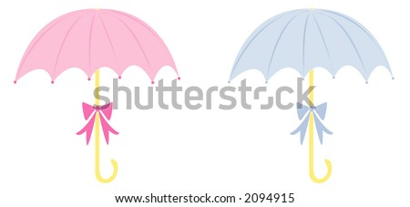 Baby shower umbrellas. Fully editable vector illustration, for use together or separate.