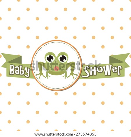baby shower with cute frog. vector illustration