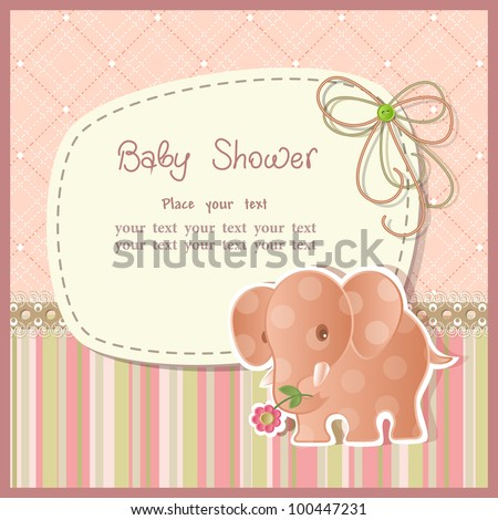 Baby shower with scrapbook elements in retro style - stock vector