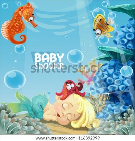 Baby shower with sleeping sweet newborn mermaid - stock vector