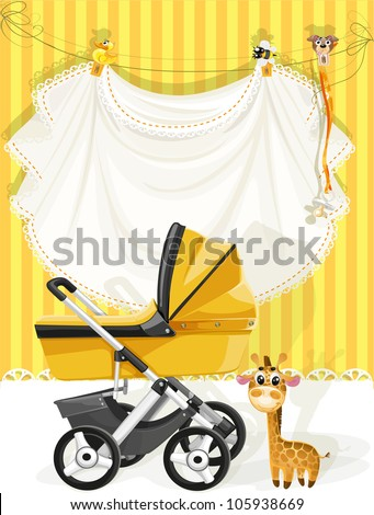Baby shower yellow card - stock vector