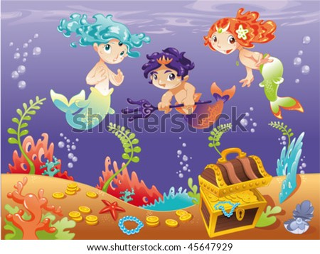 Baby Sirens and Baby Triton with background. Funny cartoon and vector illustration. - stock vector