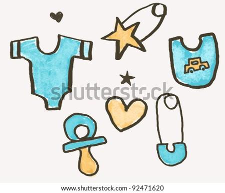 Baby sketches design elements - stock vector