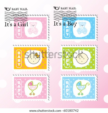 Baby stamps - Baby arrival design elements - stock vector