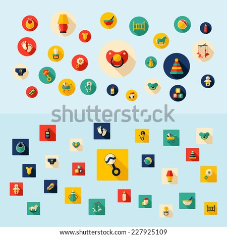 Baby symbols collection. Flat icons. Nursery Equipment - stock vector