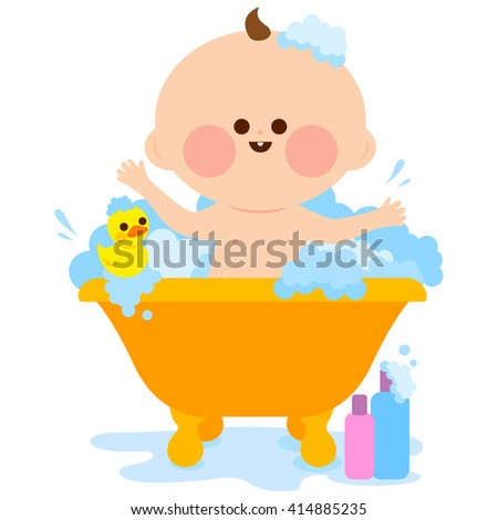 Baby taking a bath. Vector illustration of a cute baby in a bath tub taking a bubble bath and playing with his rubber duck toy. - stock vector