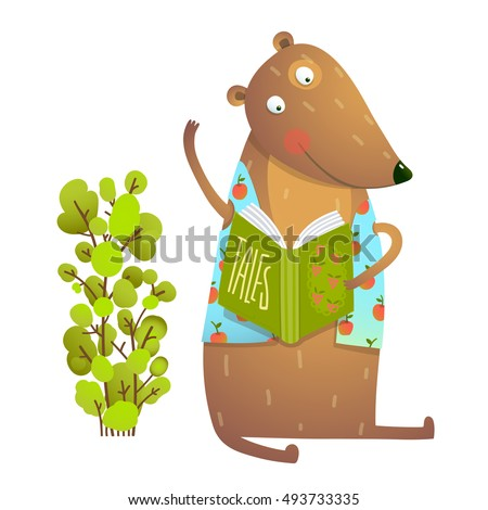 Baby Teddy Bear Character Reading Book Learning. Bear cub cute sitting studying and learning adorable animal illustration. Vector EPS10.