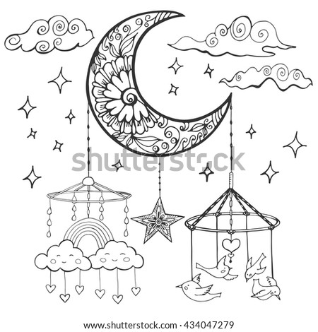 Baby theme. Hand drawn sketch vector illustration with crescent, birds and clouds. Cute background for children's room.