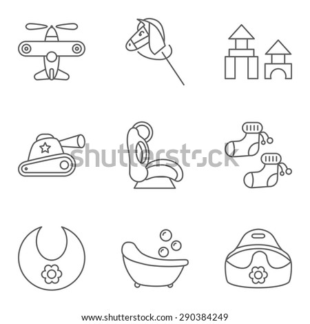 Baby thin line related vector icon for web and mobile applications. Set includes - airplane, horse, building kit, tank, baby seat, socks, bib, bath, potty. Logo, pictogram, icon, infographic element. - stock vector