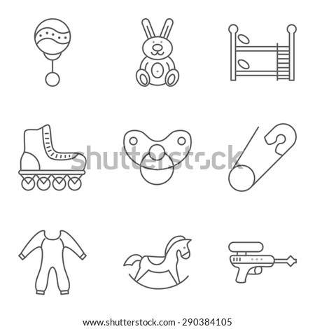Baby thin line related vector icon set for web and mobile applications. Set includes - bunk bed, roller skate, pin, rocking horse, gun, rattle, rabbit, nipple, clothes. Logo, pictogram, icon. - stock vector