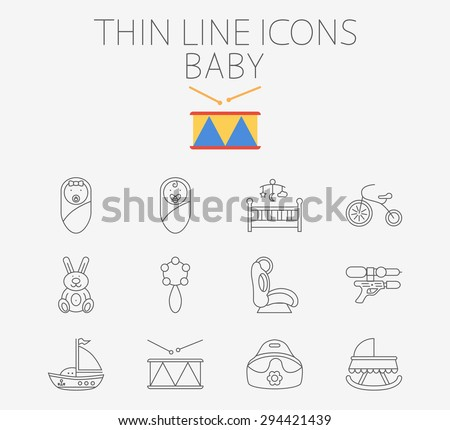 Baby thin line vector icon set for web and mobile applications. Set includes - baby boy, girl, crib, tricycle, rabbit, rattle, car seat, gun, ship, drum, potty. Logo, pictogram, infographic element - stock vector