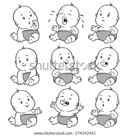 Baby toddler set. Vector Illustration cartoon on a white background. - stock vector