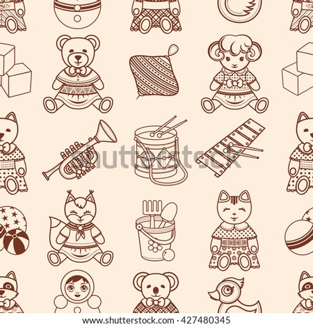 Baby toy. Seamless pattern. Toddler Animals. Plaything ornament. Children's decoration. Abstract background. Kid bauble. Texture for Babe. Child game template. Best for greeting card. Print on fabric.