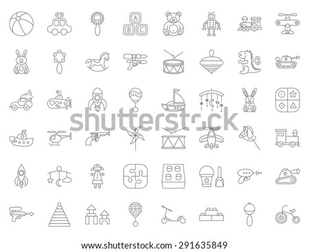 Baby toy thin line flat vector related icon set for web and mobile applications. It can be used as - logo, pictogram, icon, infographic element. Vector Illustration.  - stock vector
