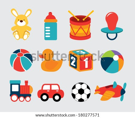 baby toys over grey background vector illustration - stock vector