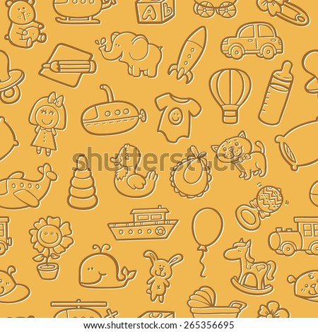 baby toys pattern. vector outline seamless pattern for with doodle toys - stock vector