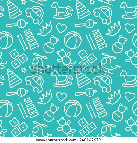 Baby toys seamless pattern.  - stock vector