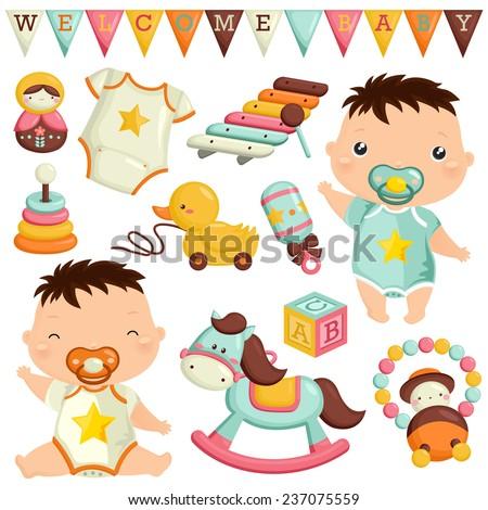 Baby Toys Vector Set - stock vector