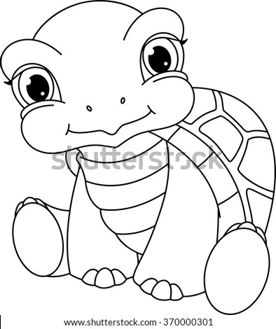Baby Turtle Coloring Page Stock Photo (Photo, Vector, Illustration ...