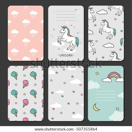 Baby Unicorn Tags Baby Banners Scrapbook Stock Vector 507355864