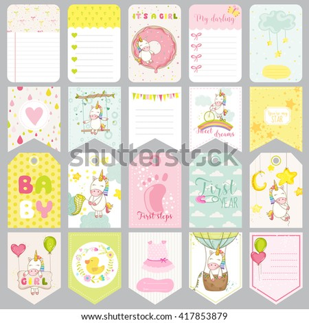Baby Unicorn Tags. Baby Banners. Scrapbook Labels. Cute Cards. Vector Design Elements. - stock vector