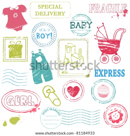 Baby Vector stamp collection in color - stock vector