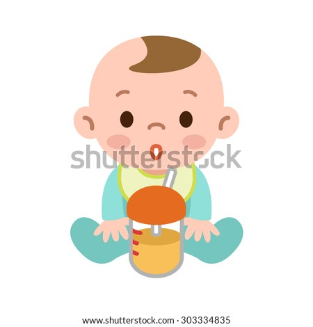 Baby with a drink - stock vector