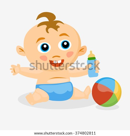 baby with a pacifier and a ball, vector
