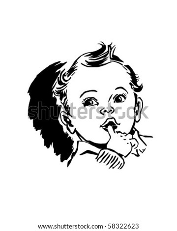 Baby With Finger In Mouth - Retro Clip Art - stock vector