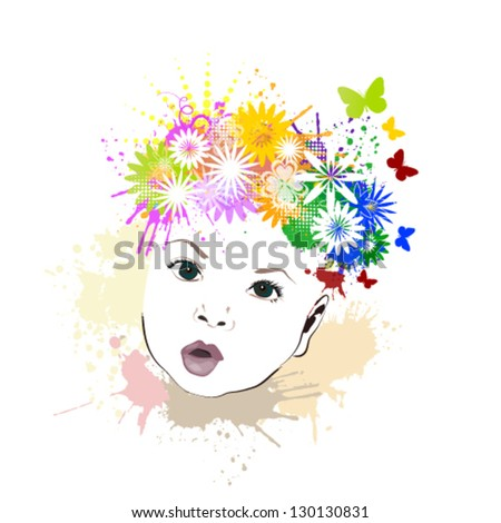 Baby with flowers on her head - stock vector