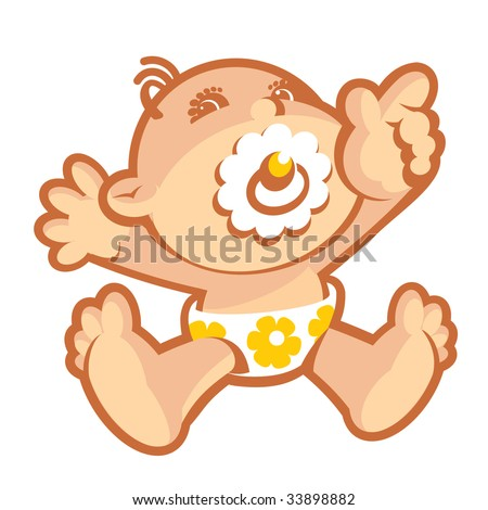 Baby-3. Without a gradient - stock vector