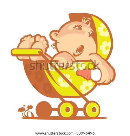 Baby#4. Without a gradient - stock vector