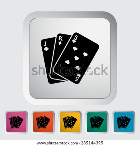 Baccarat. Single flat icon on the button. Vector illustration.  - stock vector