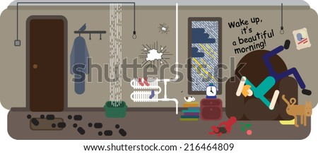 Bachelor after long night party with mess at home - stock vector