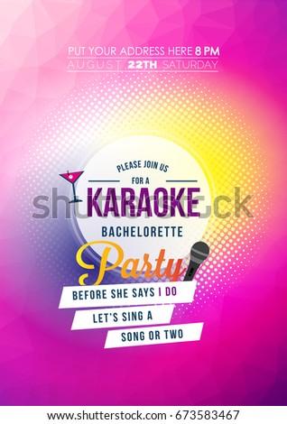Bachelorette karaoke party invitation card stock vector hd royalty bachelorette karaoke party invitation card stopboris Image collections
