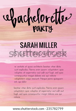 Bachelorette Party Invitation Template Vector With Pink Gold And Black Painted Background