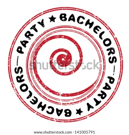 Bachelors party abstract grungy stamp isolated on white - stock vector