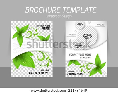 Back and front flyer template design with leaves and eco concept - stock vector