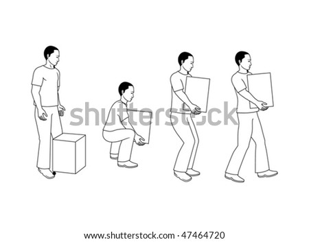 Back and shoulder right position when lifting a box - stock vector