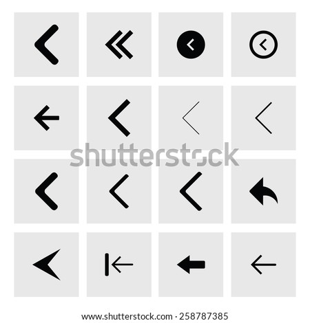 back arrow previous icon set. simple pictogram minimal, flat, solid, mono, monochrome, plain, contemporary style. Vector illustration web internet design elements - stock vector