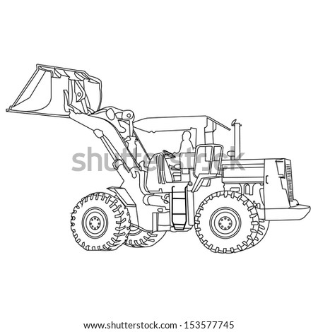 Back Hoe outlineVector - stock vector