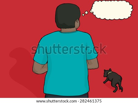 Back of Black man thinking about loose dog
