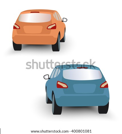 Back of hatchback cars orange and blue in vector on white background - stock vector