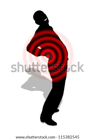 Back pain Silhouette of a man in black with back pain depicted by red circles