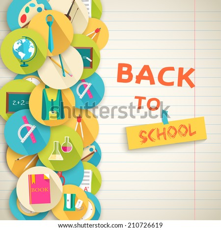 back to school abstract background of flat icons notebook concept. Vector illustration design - stock vector