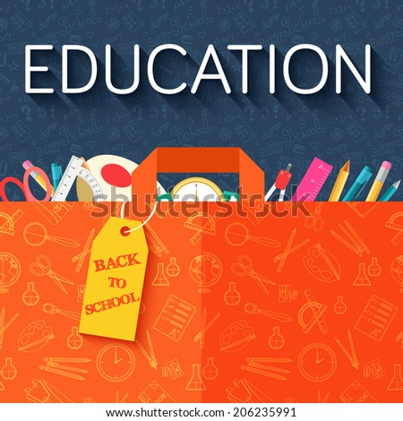 back to school abstract background of flat icons purse in shop concept. Vector illustration design - stock vector