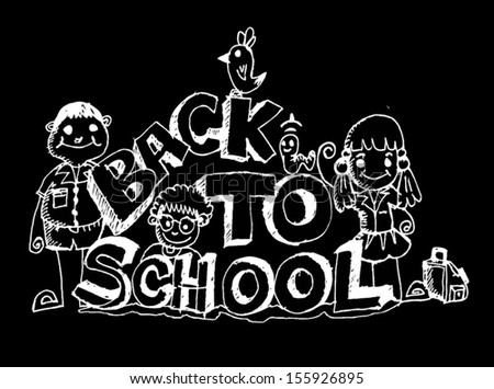Back to school and Cute schoolchild  - stock vector