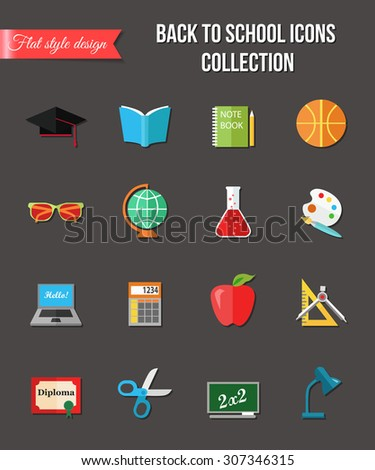 Back to school and education flat icons with computer, open book, desk, globe and other school supplies. Vector illustration.