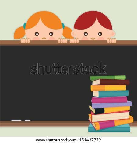 Back to school. Back to school-kids, blackboard and books. Vector illustration. - stock vector