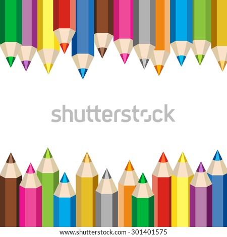 Back to school background. Color pencils vector illustration. Colorful crayons design element. - stock vector